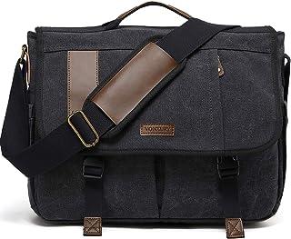 Techecho Black Leather Messenger Bag 13 Inch Laptop Briefcase Satchel Shoulder Handbag with Detachable Shoulder Strap Shoulder Bag Large Capacity Leather Computer Bag