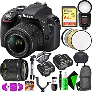Nikon D3300 DSLR Camera (Black) + Nikon 18-55mm Lens + 64GB Memory Card + Round Head Speedlite V1-C + Flash Trigger Transmitter/Receiver Combo