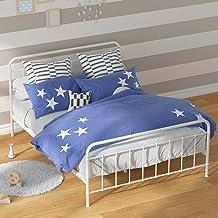 Zinus Double White Metal Bed Frame Mattress Support Bedroom Furniture   Platform Florence Bed