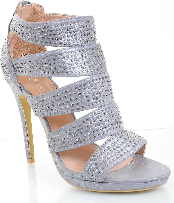 Fourever Funky Jeweled Beaded Caged Platform Heels Slide Sandals