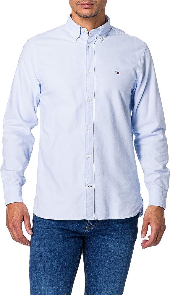Tommy hilfiger classic oxford shirt camicia da uomo maniche lunghe in cotone biologico (100%) MW0MW17629