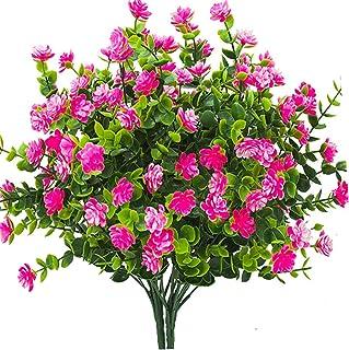 Lot de 4 fausses plantes artificielles arbustes de verdure Branches d'eucalyptus avec souffle de bébé Violet/fleurs en pla...