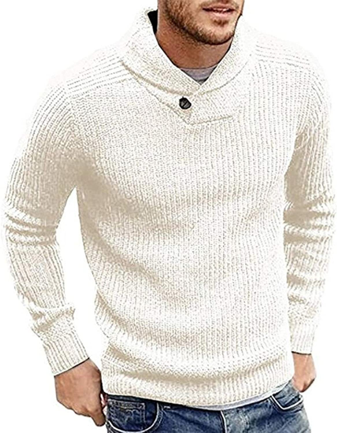PASLTER Mens Knitted Sweaters Shawl Collar Slim Fit Pullover Long Sleeve Outwear Fall Winter Casual Knit Sweater