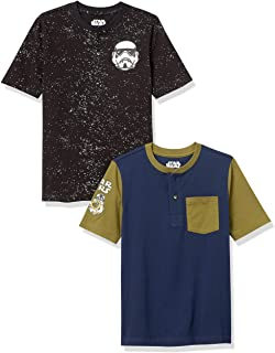 Spotted Zebra Disney Star Wars Marvel Henley Camisetas de Manga Corta Niños