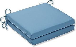 Pillow Perfect Outdoor/Indoor Tweed Aqua Squared Corners Seat Cushion 20x20x3 (Set of 2)