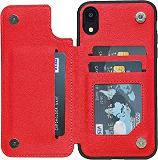 ACXLIFE iPhone XR Case XR Wallet Credit Card Holder Case Protective Hybrid Cover with Card Slot Holder and Leather Magnetic Closure Case for iPhone XR 6.1 Inch (Red)