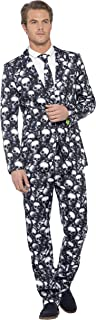 Smiffy's Men's Skeleton Suit, Stand Out Suits, Jacket, Pants and Tie, Stand Out Suits, Serious Fun, Size M, 43714