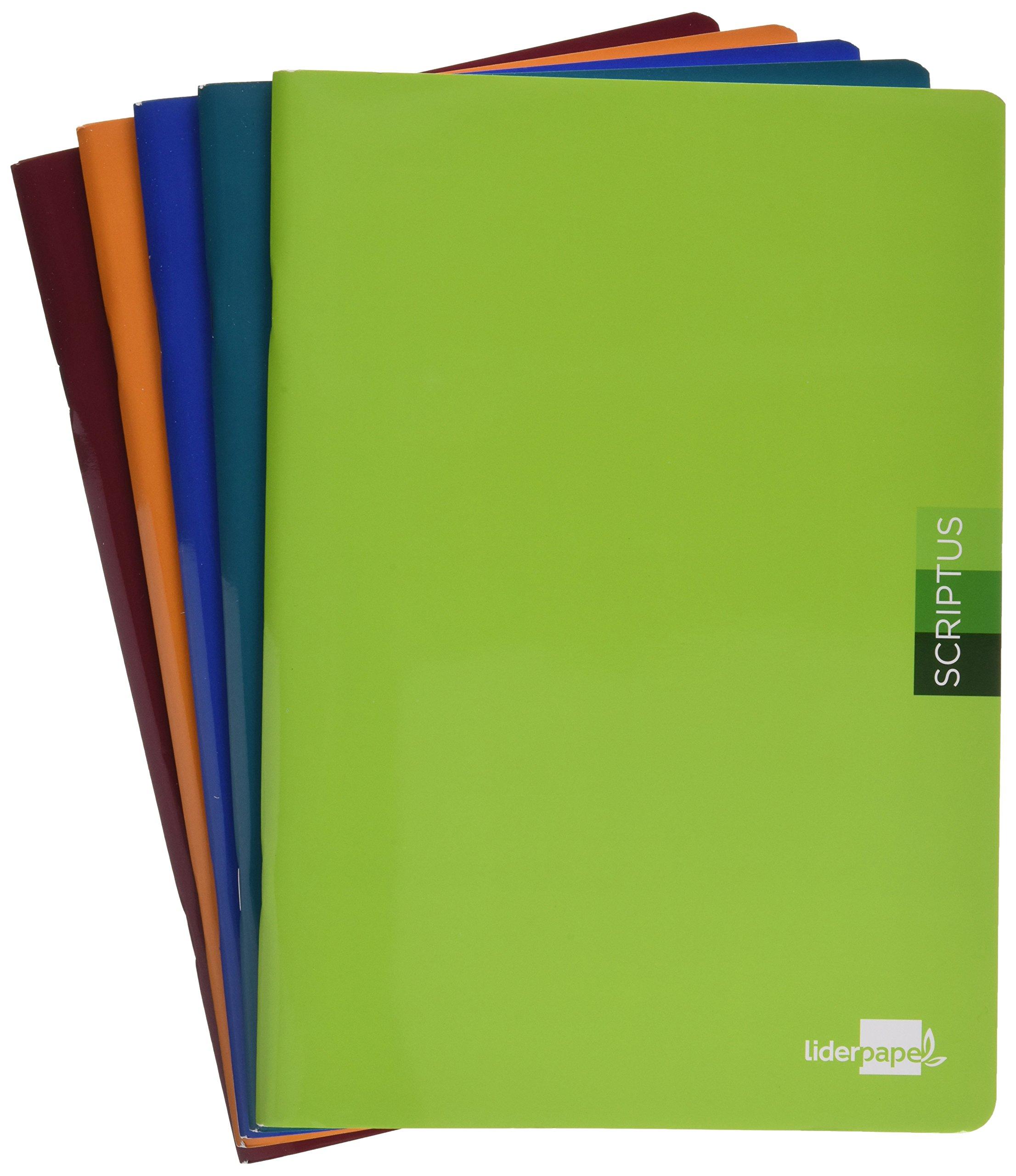 Liderpapel LB31 - Pack de 5 libretas, liso, 48 hojas, A4, 90 gr: Amazon.es: Oficina y papelería