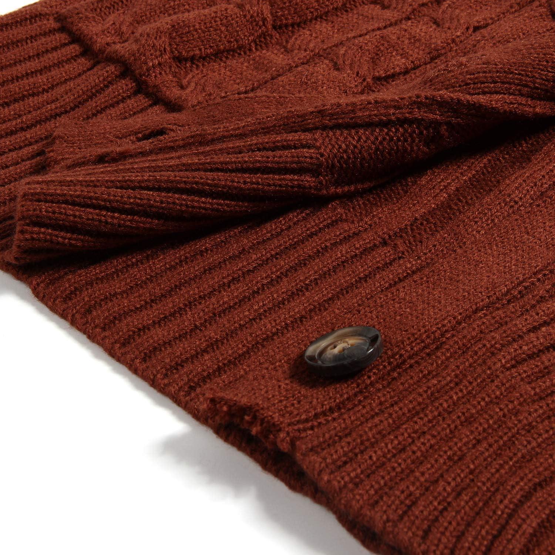 Leezepro Damen Strickjacke Cardigan Pullover Mantel Langarm Open Front Button Down Ziegelrot