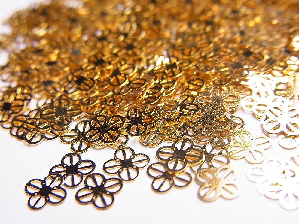 マッサージ豊かな本物【jewel】薄型ネイルパーツ ゴールドクローバーA 10個