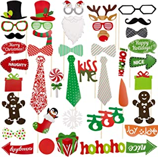 Ouddy Christmas Photo Booth Props DIY Kits (71 Pcs), Christmas Decorations, Christmas Selfie Props Holiday Party Photo Booth Props Ideas with Stick Funny Xmas for Christmas Theme Party Supplies