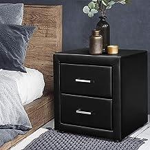 Artiss Bedside Table Leather Side Storage Drawers - Black