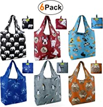 Animal reusbale Shopping Bags Foldable Grocery Tote Bags W15*H25.3*D4.7 Animal 6 Pack
