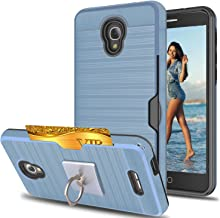 Alcatel Fierce 4 /Allura/Pop 4 Plus Case With Phone Stand,Ymhxcy[Credit Card Slots Holder][Metal Brushed Texture] Hybrid Dual Layer Full-Body Shockproof Protective Cover Shell Fierce 4-LCK Metal Slate
