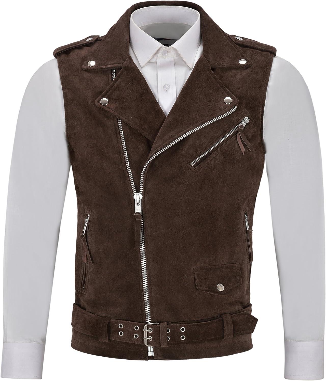 Smart Range Men's Brando Brown Suede Motorcycle Biker Steam Punk Real Leather Waistcoat 1025