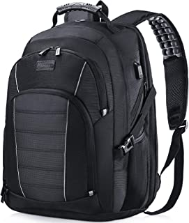 Laptop Backpack, Extra Large 17 Inch Business Travel Rucksack with USB Charging Port Earphone Hole, Durable Water Resistant Work Computer Backpack College/High School Bags for Men/Women/Boys, Black