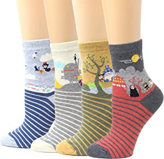 fe762fe9d7892 LIVEBEAR Women's 4/5 Pair Cute Large Print Funny Novelty Crew Socks Made In  Korea