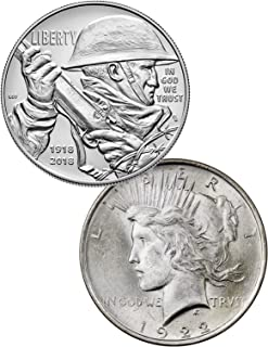 2018 P 2-Coin Set -P WWI Centennial Commem Silver Dollar + 1922 Peace Dollar BU GEM BU