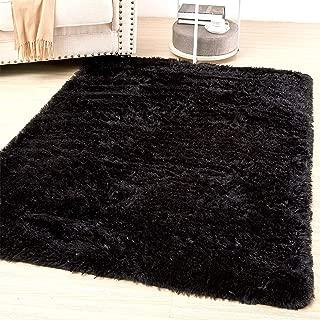 Amangel Soft Fluffy Black Area Rug Plush Shag High Pile Bedroom Rug Furry Carpets Shaggy Velvet Fur Rugs for Men Women Bedroom Kids Dorm Rooms Home Furniture Decor 4x5.3 Feet, Black