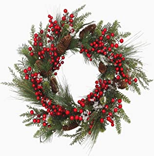 VGIA 22 inches Traditional Christmas WreathRed Berry Branch Pine Cone and Artificial Snow for Front Door