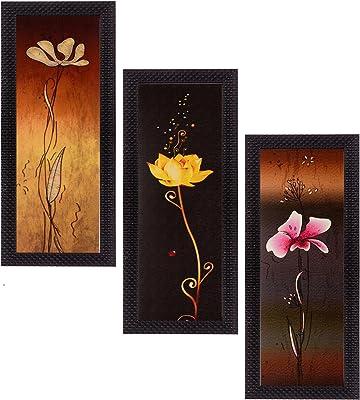 eCraftIndia Matt Textured Art Painting (Synthetic Wood, 17.8 cm x 1.3 cm x 40.6 cm, Set of 3)