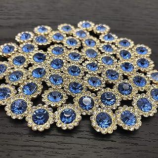 50Pcs Rhinestone Buttons Embellishments Sew On Crystal Rhinestones Flatback Beads Buttons with Diamond,Royal Blue