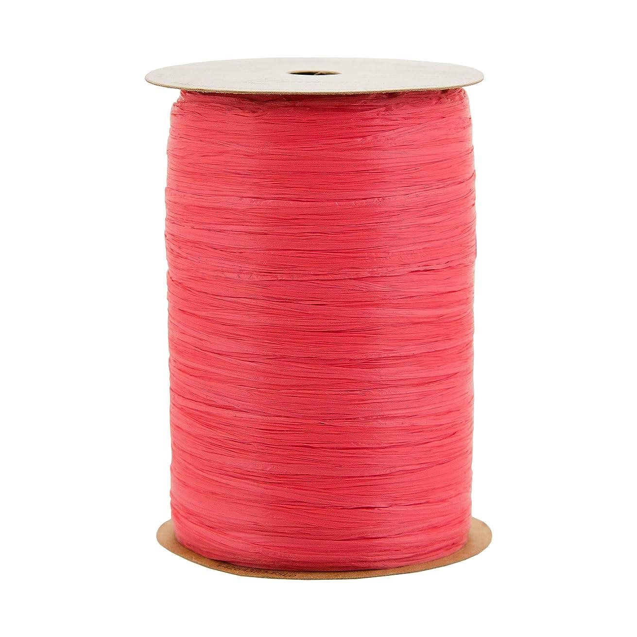 Berwick 74900172 Offray 1/4'' Wide Matte Raffia Ribbon, Neon Coral Orange, 100 Yards