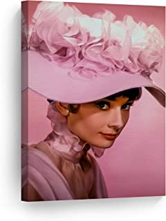 Smile Art Design Audrey Hepburn Wall Art Canvas Print Pretty Icon Pink Background Iconic Framed Living Room Bedroom Home Decor Ready to Hang Made in The USA 22x15