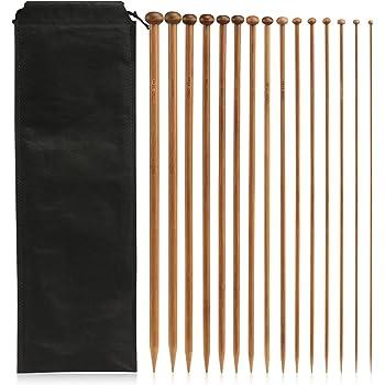 LIHAO 30 x Agujas de Bambú para Tejer Agujas de Punto Tamaños 2mm - 10mm (35cm)