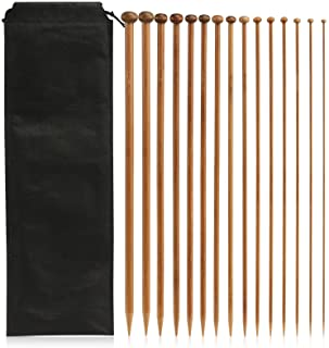 LIHAO 15 Paires Aiguilles a Tricot Unique Pointe en Bambou pour Laine (2mm-10mm/Longueur 35cm)