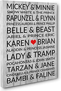 Famous Disney Couples Personalized Wedding Anniversary Gift CANVAS Gallery Wrap