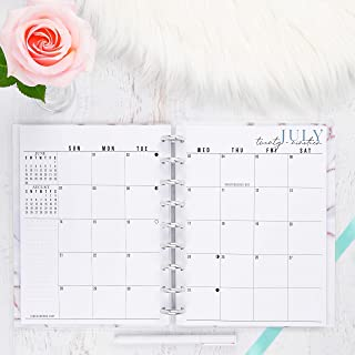 2020 Monthly Dated Planner Inserts Discbound | Refill Pages for Happy Planner | Sunday Start | 7.00x9.25 inches