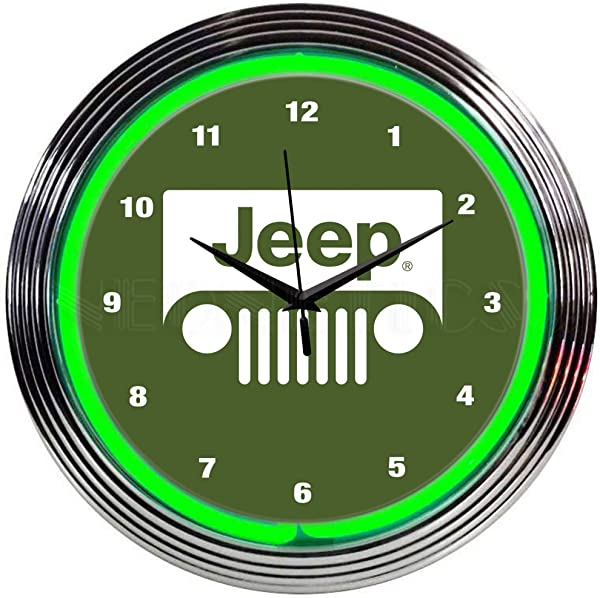 Neonetics Jeep Green NEON Clock