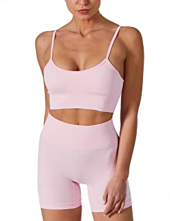 Chiphell 2 Pieces Outfits for Women Workout Set High Waist Leggings with Sports Bras Tracksuit