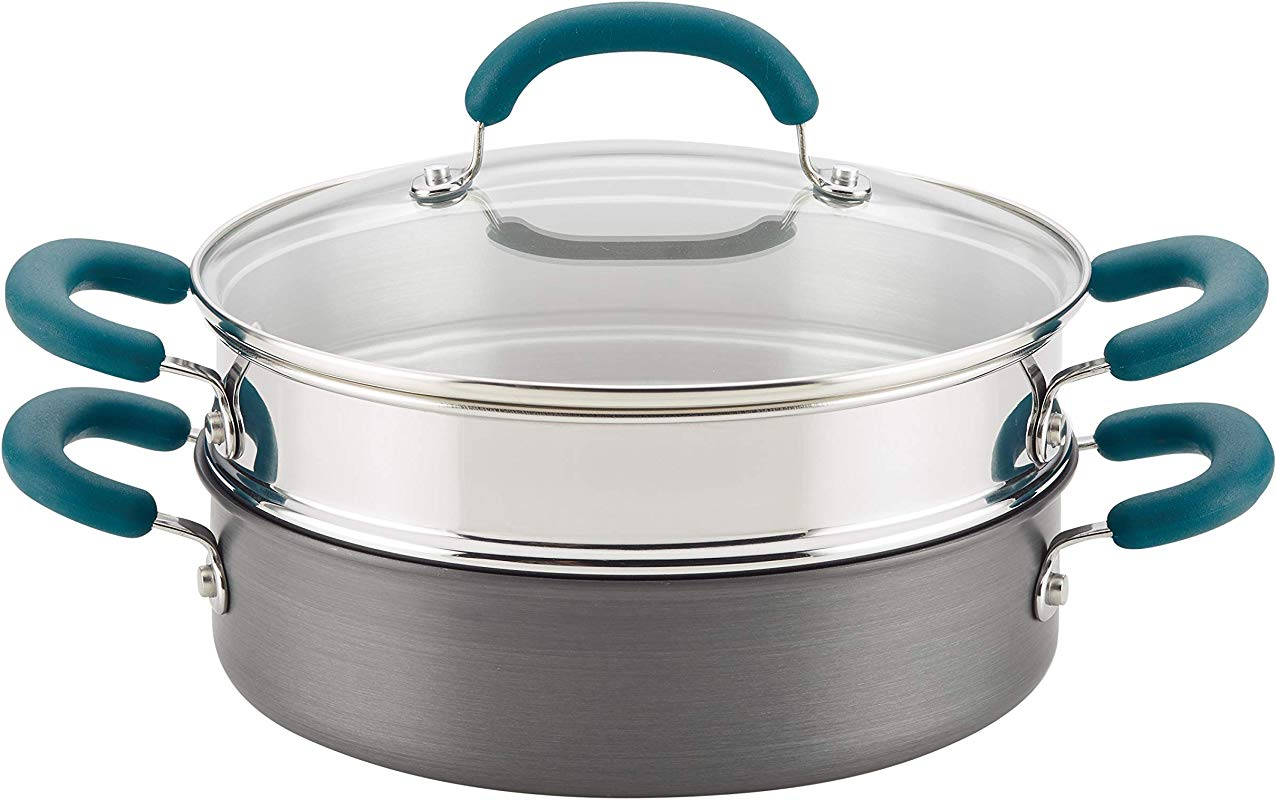 Rachael Ray 81151 3 Piece Hard Anodized Aluminum Steamer Set Gray With Teal Handles