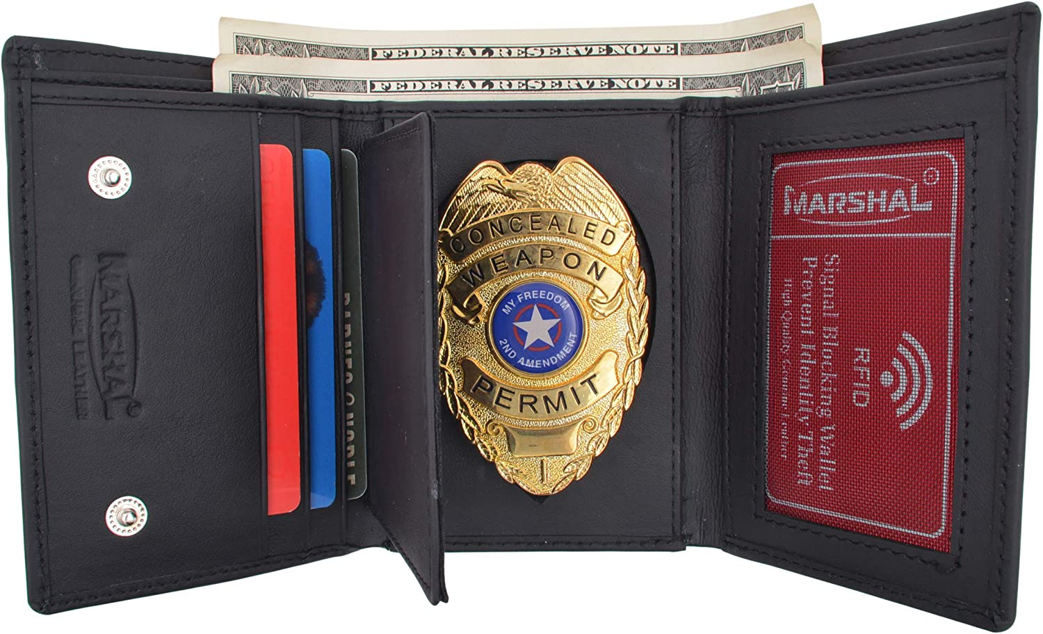 Genuine Leather RFID Blocking Police Badge Holder Trifold Wallet Black with Snap Closure