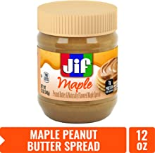 Jif Maple Peanut Butter Spread, 12 oz. (8 count) – 7g (7% DV) of Protein per Serving, Creamy Peanut Butter with Naturally Flavored Maple