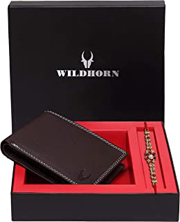 """""""WildHorn"""" Rakhi Gift for Brother - Classic Men's Leather Wallet, and Rakhi Combo Gift Set for Brother (Brown)"""