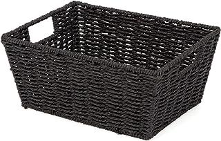 Compactor, Panier de rangement Etna Papier Tressé Noir, Dimensions: 31 x 24 x H. 14 cm, RAN6543