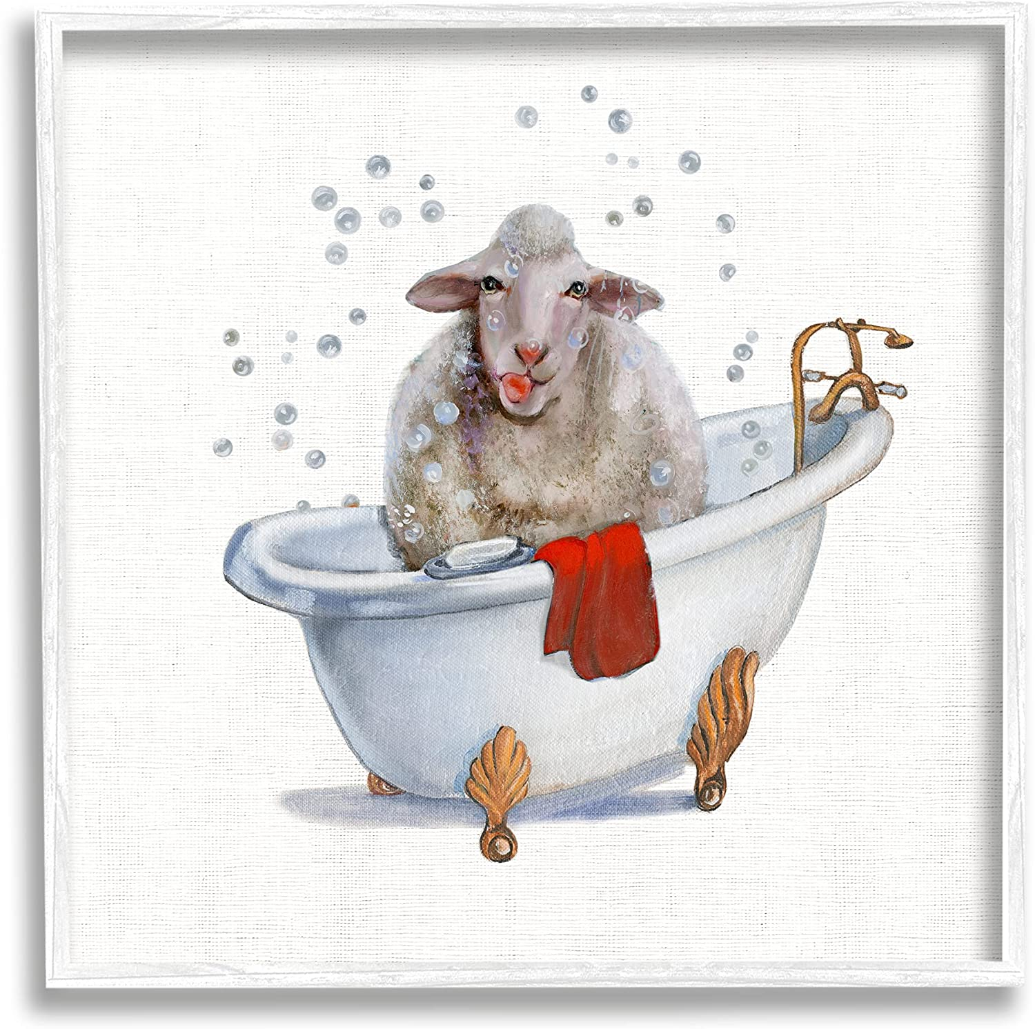 Stupell Industries Shaggy Sheep in Bubble Bath Playful Farm Animal, Designed by Donna Brooks White Framed Wall Art, 17 x 17, Red