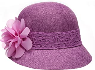 Women's Gatsby Linen Cloche Hat With Lace Band and Flower