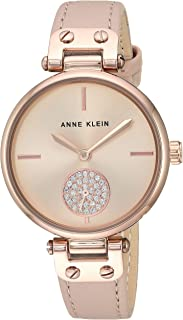 Anne Klein Women's Swarovski Crystal Accented Silver-Tone and Leather Strap Watch