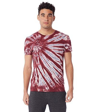 Alternative Distressed Heritage Tee (Deep Red Spiral Tie-Dye) Men