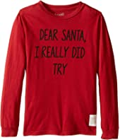 The Original Retro Brand Kids - Dear Santa I Really Did Try Long Sleeve Vintage Cotton Tee (Little Kids/Big Kids)