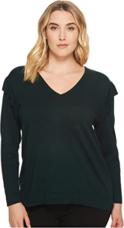 Calvin Klein Plus - Plus Size V-Neck Sweater w/ Ruffle