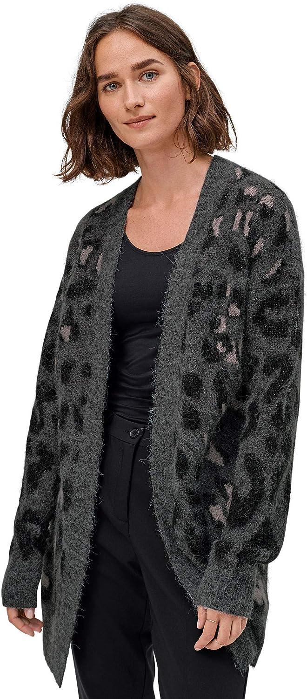 ellos Women's Plus Size Animal Print Jacquard Cardigan Sweater