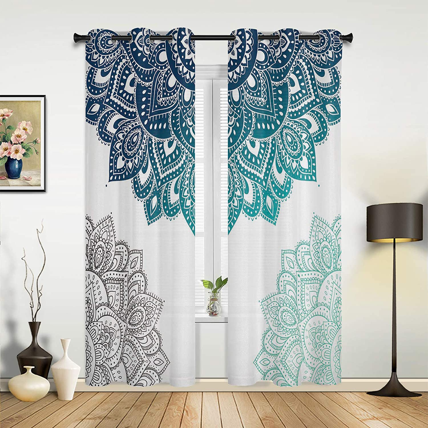 Window Curtains Drapes Panels Mandala Pattern Superior Three-Color Gradie In a popularity