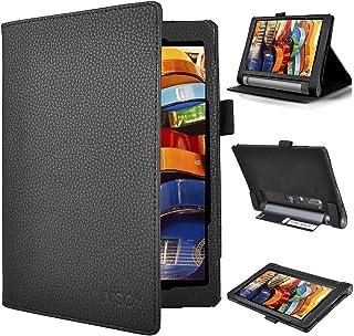 KuGi Lenovo Yoga Tab 3 10.1 ケース スタンド カバー 薄型 軽量 ハンドストラップ付き カッドスロット付き 内蔵マグネット開閉式 PUレザーケース ( ブラック) 【プロジェクター内蔵のLenovo タブレット YOGA Tab 3 Pro に非対応!】