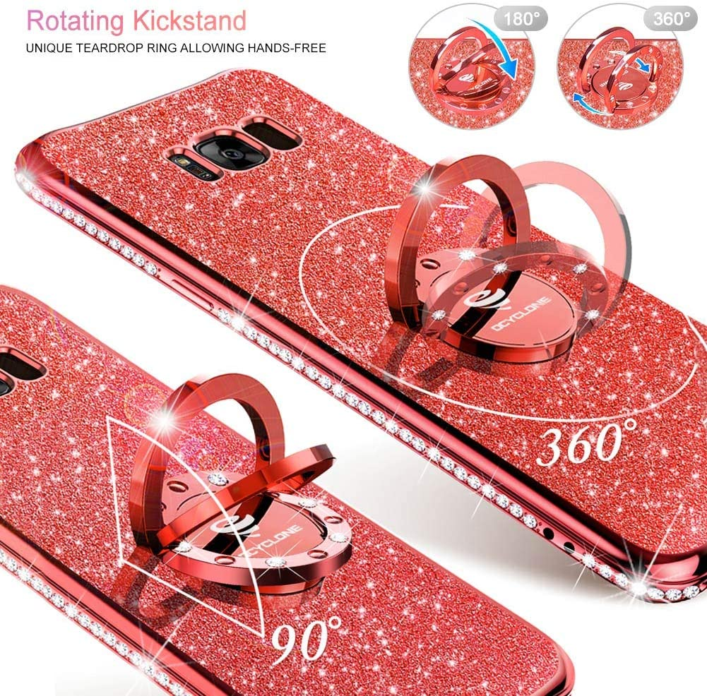 OCYCLONE Galaxy S8 Plus Case, Glitter Luxury Cute Phone Case for Women Girls with Kickstand, Bling Diamond Rhinestone Bumper with Ring Stand Compatible with Samsung S8 Plus Case for Girl Women - Red