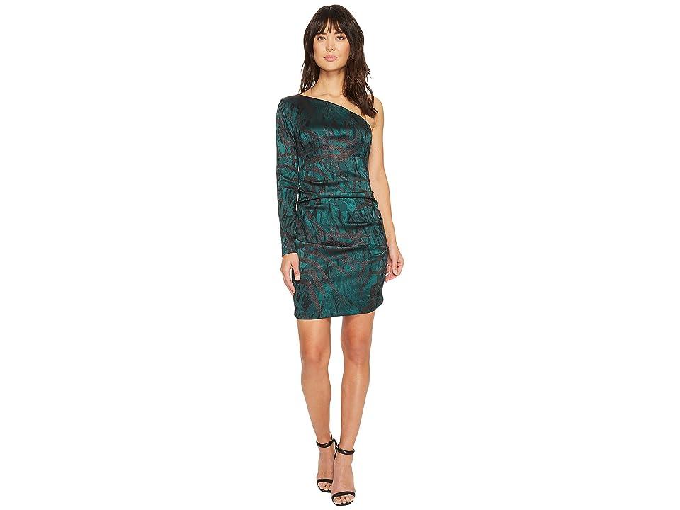 Nicole Miller Stroked Lurex One Shoulder Dress (Green Multi) Women